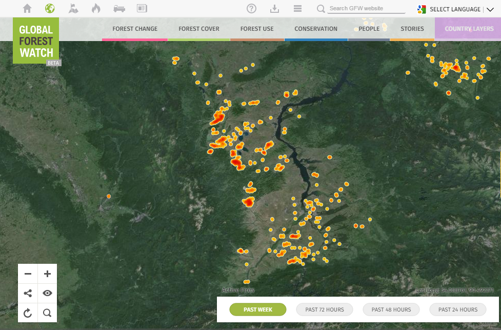 (NASA active fire data showing the largest fires from the last week. Red indicates denser clusters of fires)