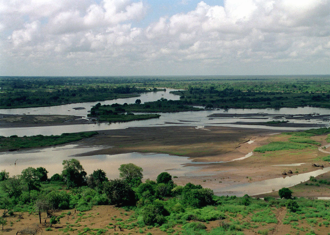 An aerial photograph of the flooded TANA RIVER which is in the Rift Valley area during Joint Task Force Kenya, operation Noble Response.