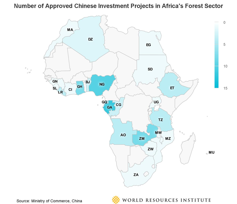 Number of Approved Chinese Investment Projects in Africa's Forest Sector