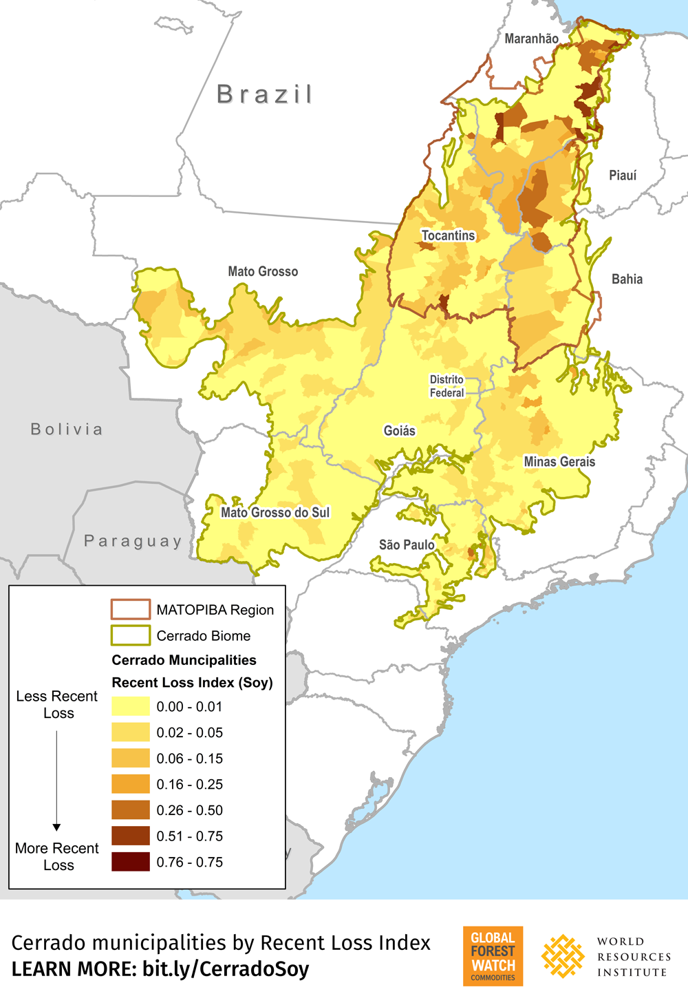 Soy on Tree Cover Loss analysis output