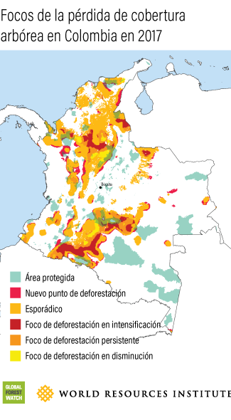 Colombia Tree Cover Loss Hotspots 2017