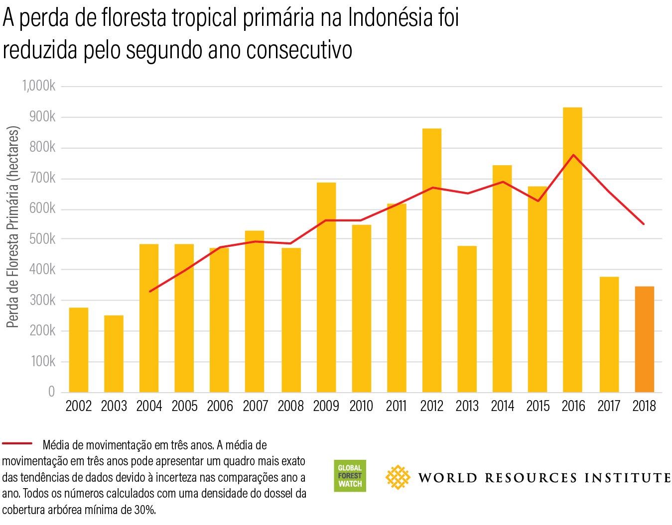 A perda de floresta tropical prinaria na indonesia foi reduzida pelo segundo ano consecutivo