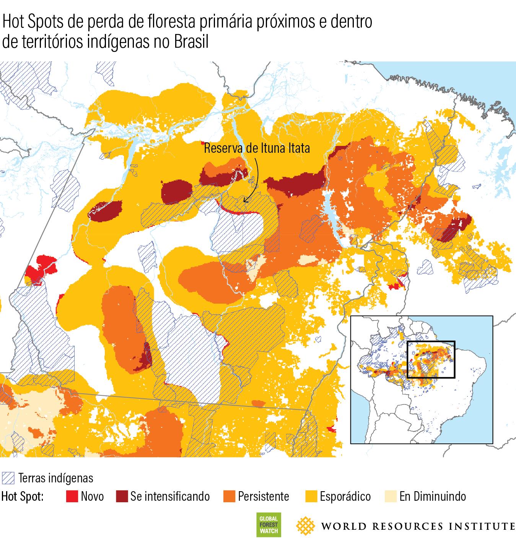 Hot spots de perda de floresta primaria proximos e dentro de territorios indigenas no Brasil