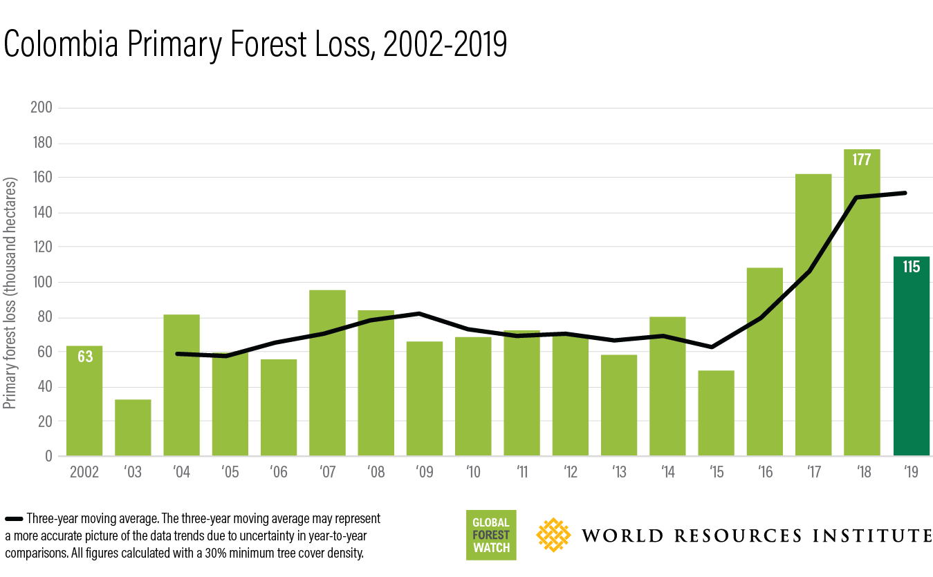 This bar chart shows how much forest has been lost in Colombia annually between 2002 (63-thousand hectares) and 2019 (115-thousand hectares).