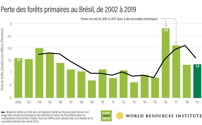 Ce graphique à barres montre combien de forêts ont été perdues au Brésil chaque année entre 2002 (1,6 million d'hectares) et 2019 (1,4 million d'hectares).