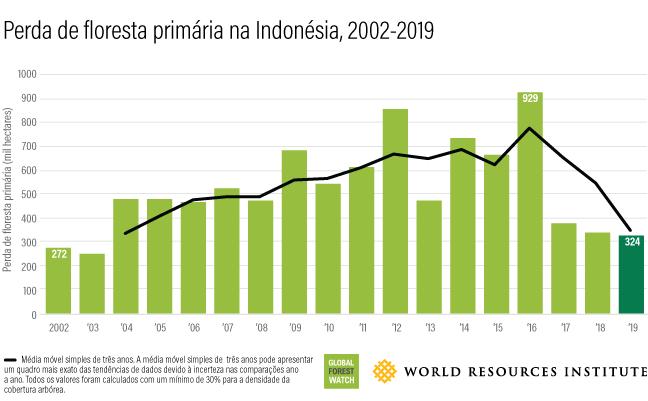 Este gráfico de barras mostra quanta floresta se perde anualmente na Indonésia entre 2002 (272 mil hectares) e 2019 (324 mil hectares).