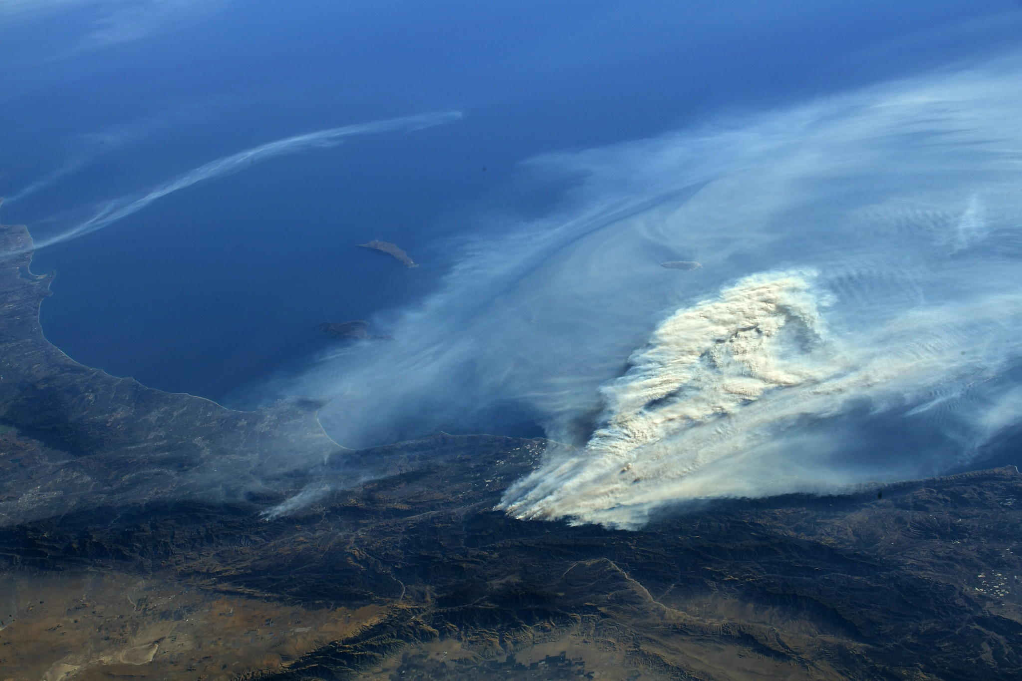 satellite view of fires in southern california
