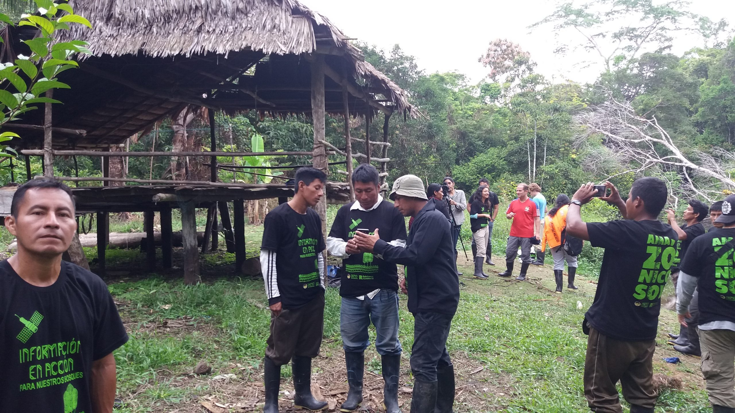 Indigenous community monitors in Copal Urco plan a patrol to monitor deforestation