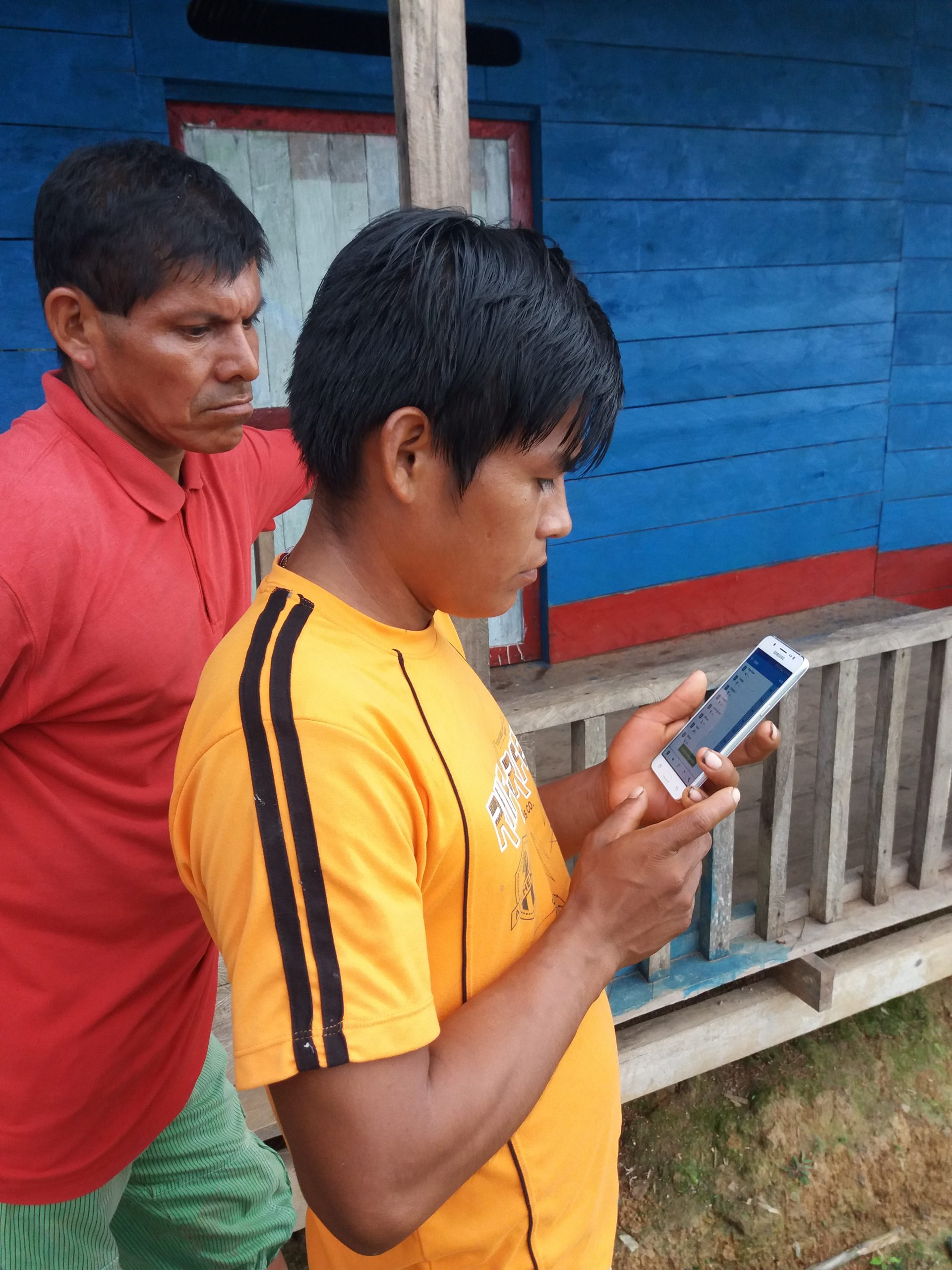 A community monitor in Remanso del Amazonas identifies early warning signs of deforestation